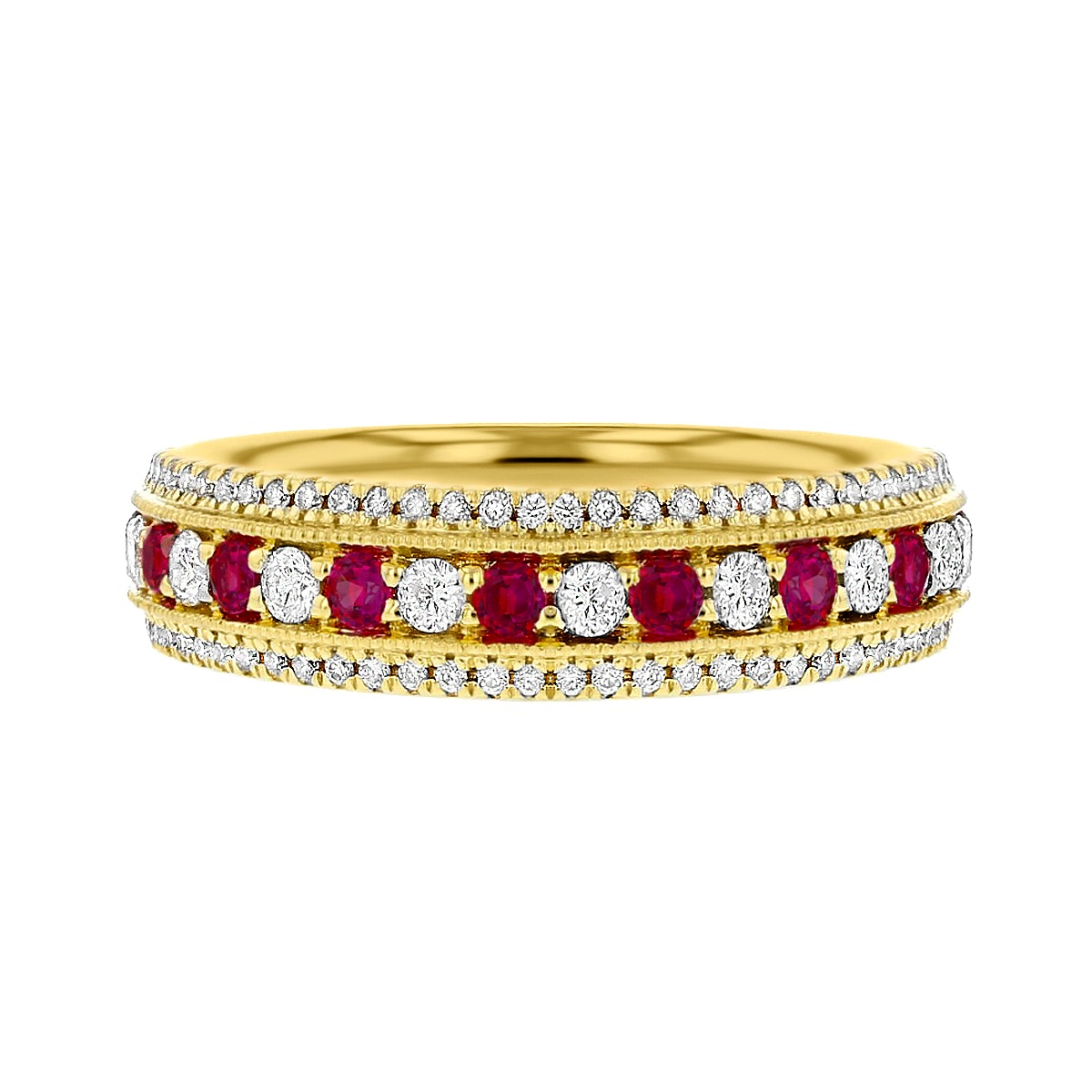 Browns Gemstones Collection 0.56tct | Diamond & Ruby Half Eternity | 18ct Yellow Gold