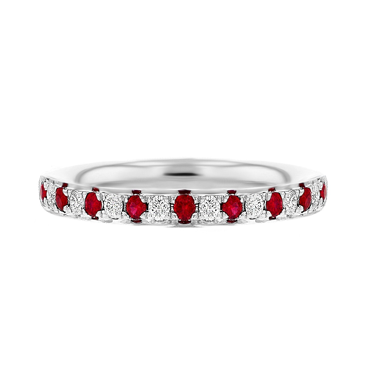 Browns Gemstones Collection Ruby & Diamond White Gold Half Eternity Ring