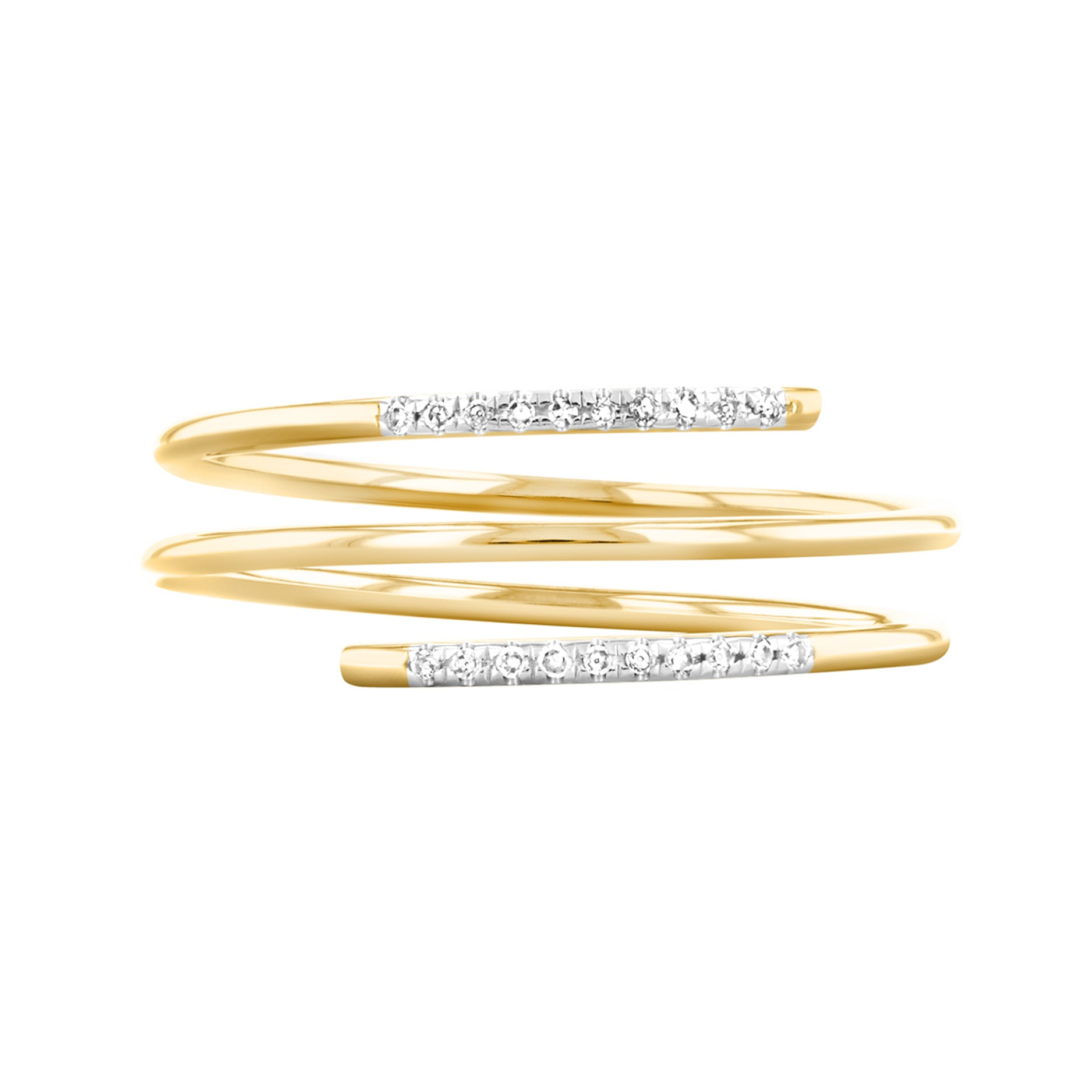 Soleil Collection Diamond Spiral Ring   9K Yellow Gold