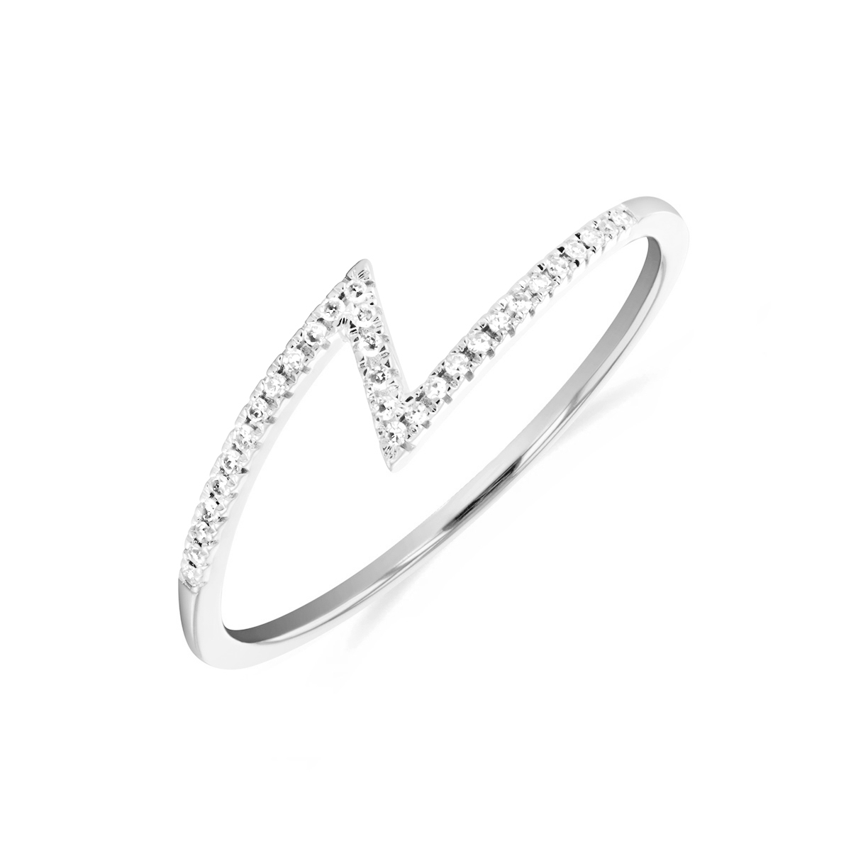 Soleil Collection Diamond Zigzag Ring   9K White Gold