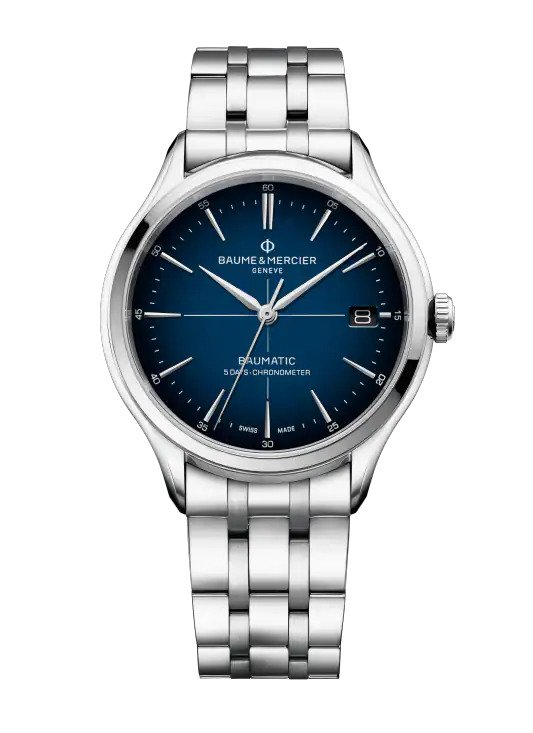 Baume & Mercier Clifton 40MM Blue Dial Polished Steel Watch    M0A10468