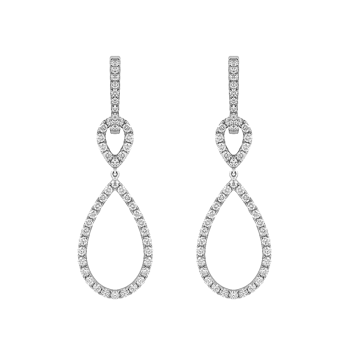 Radiance Collection Diamond Pear Drop Earrings | 18K White Gold