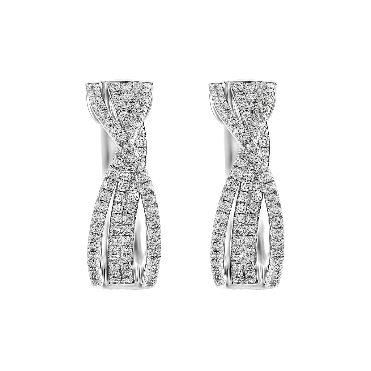 Radiance Collection Diamond Pave Crossover Hoop Earring | 18K White Gold