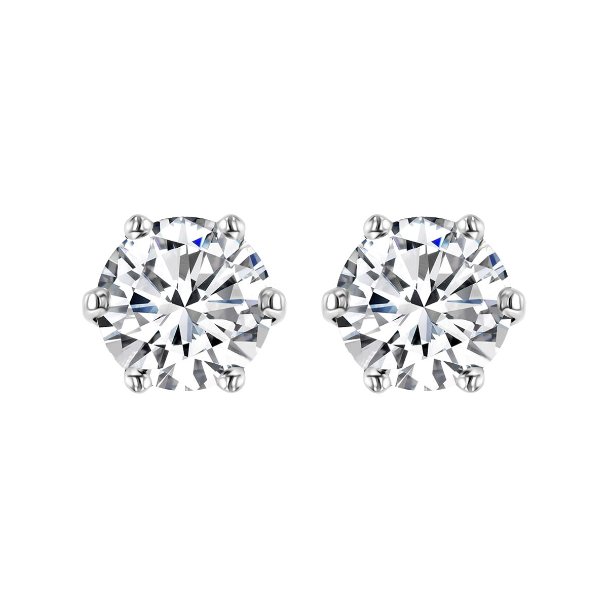 Radiance Collection 2.03ct Round Diamond 6 Claw Stud Earrings | 18K White Gold