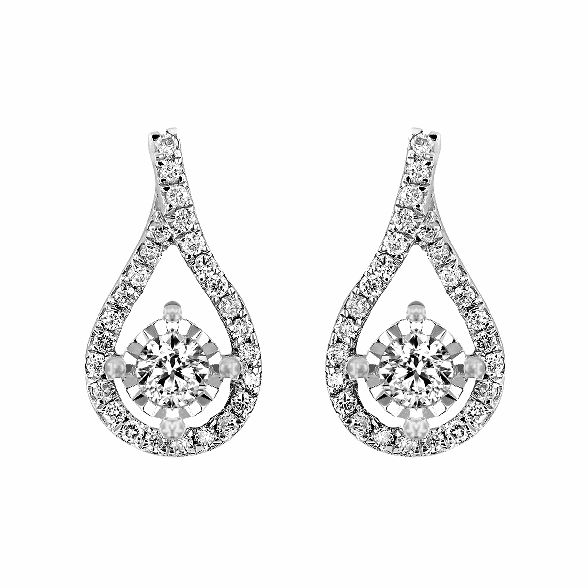 Radiance Collection Diamond & White Gold Peardrops Earrings | 18K White Gold