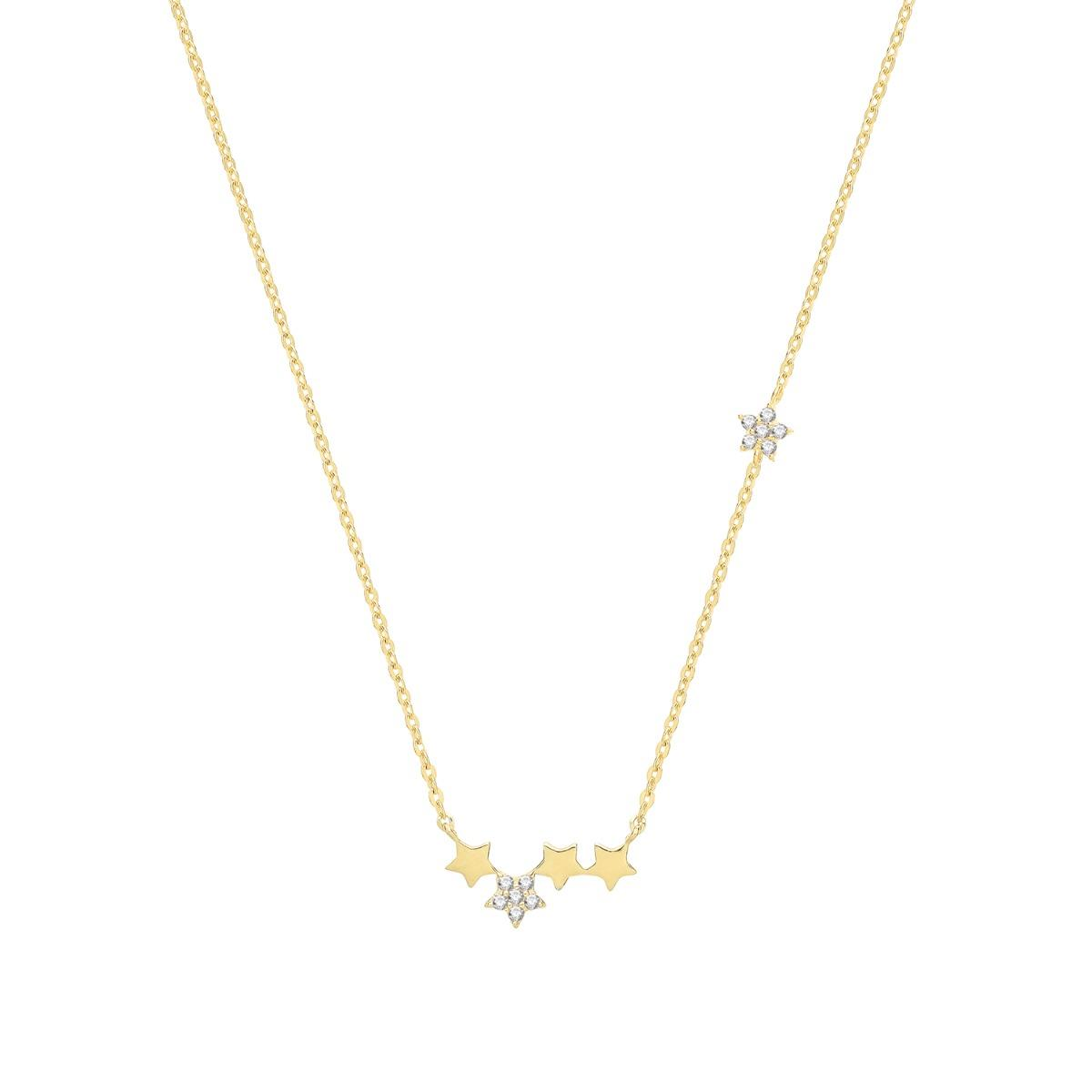 Soleil Collection Multi Star Necklace   9K Yellow Gold
