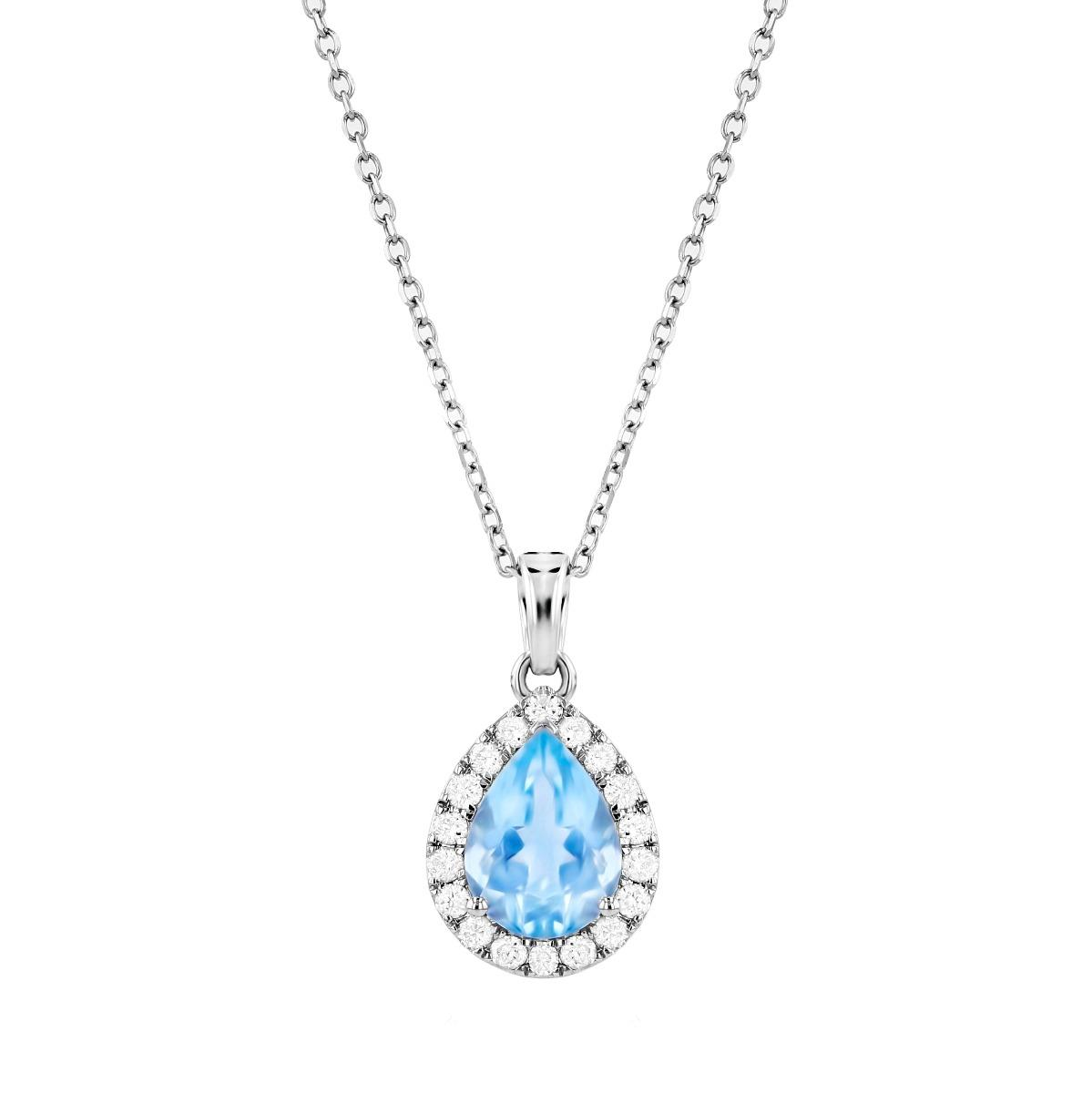 Rosa Mer Collection 0.89ct Pear Cut Aquamarine Halo Necklace