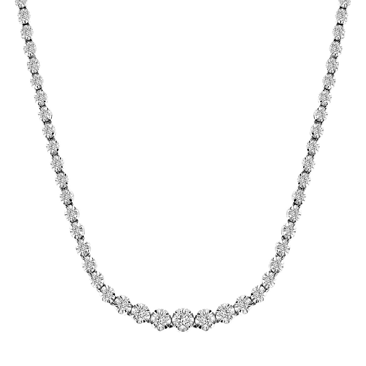 Radiance Collection 3.00ct Round Brilliant Diamond Line Necklace | 18K White Gold