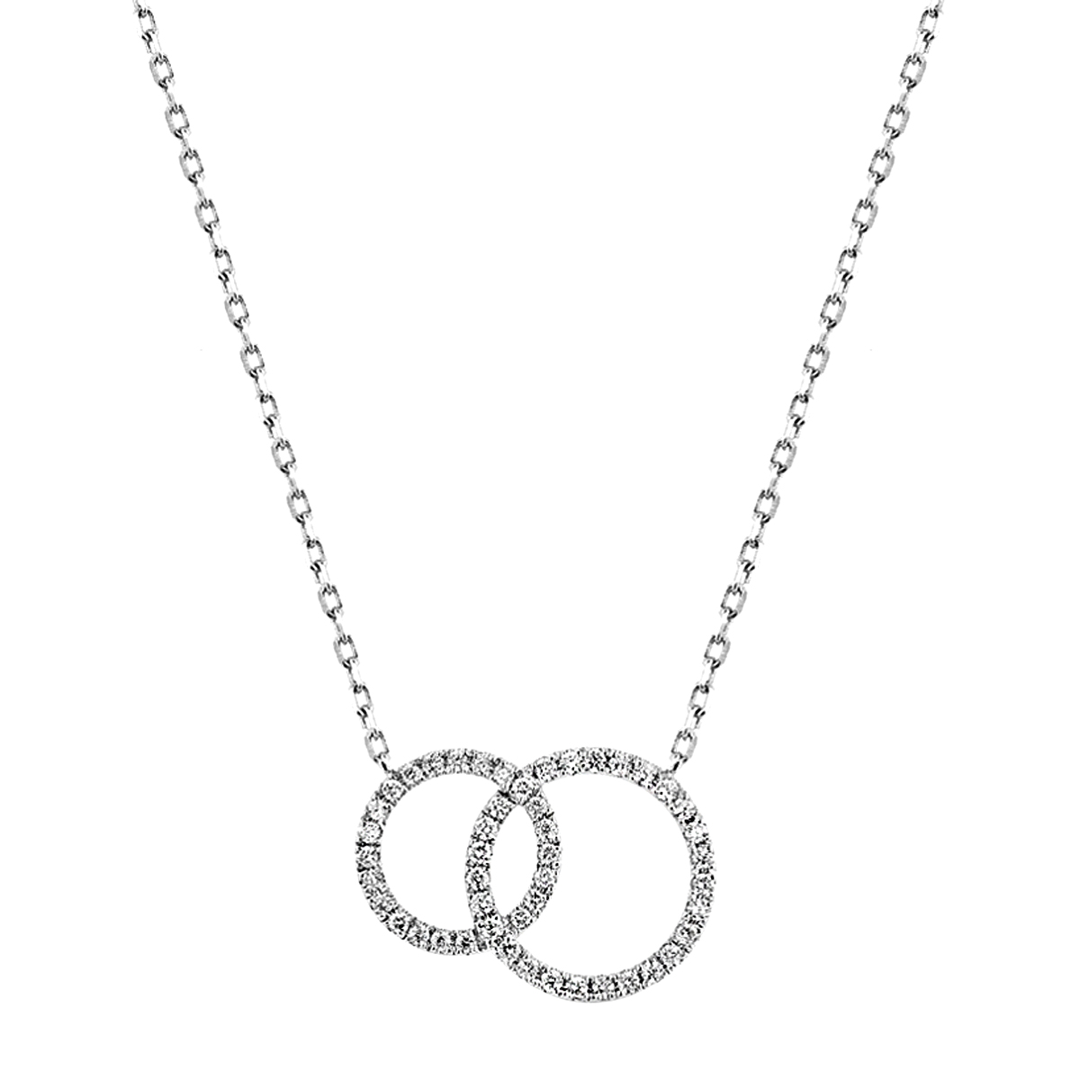 Radiance Collection Diamond & White Gold Double Circle Necklace