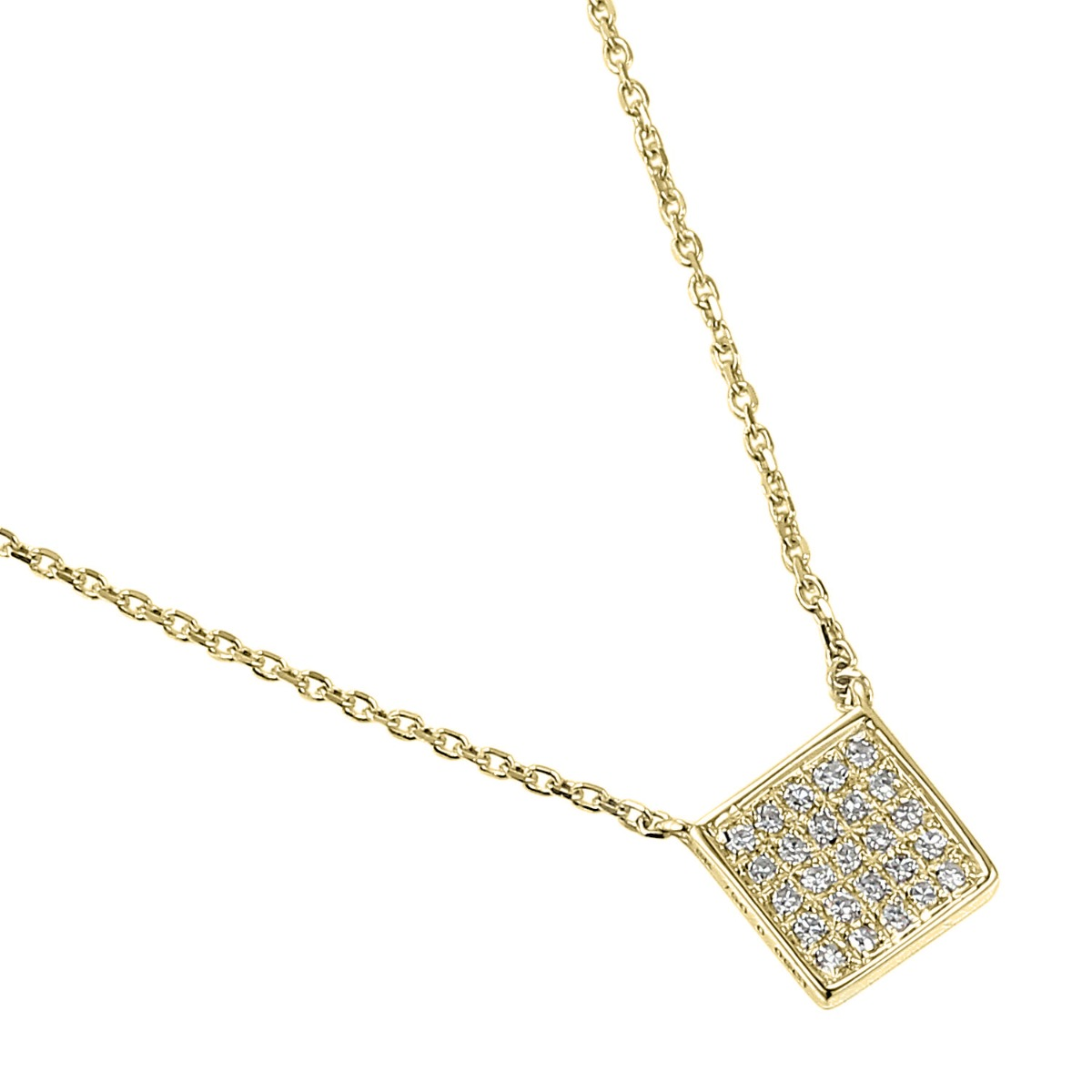 Geometric Collection Diamond & Yellow Gold Square Shape Necklace