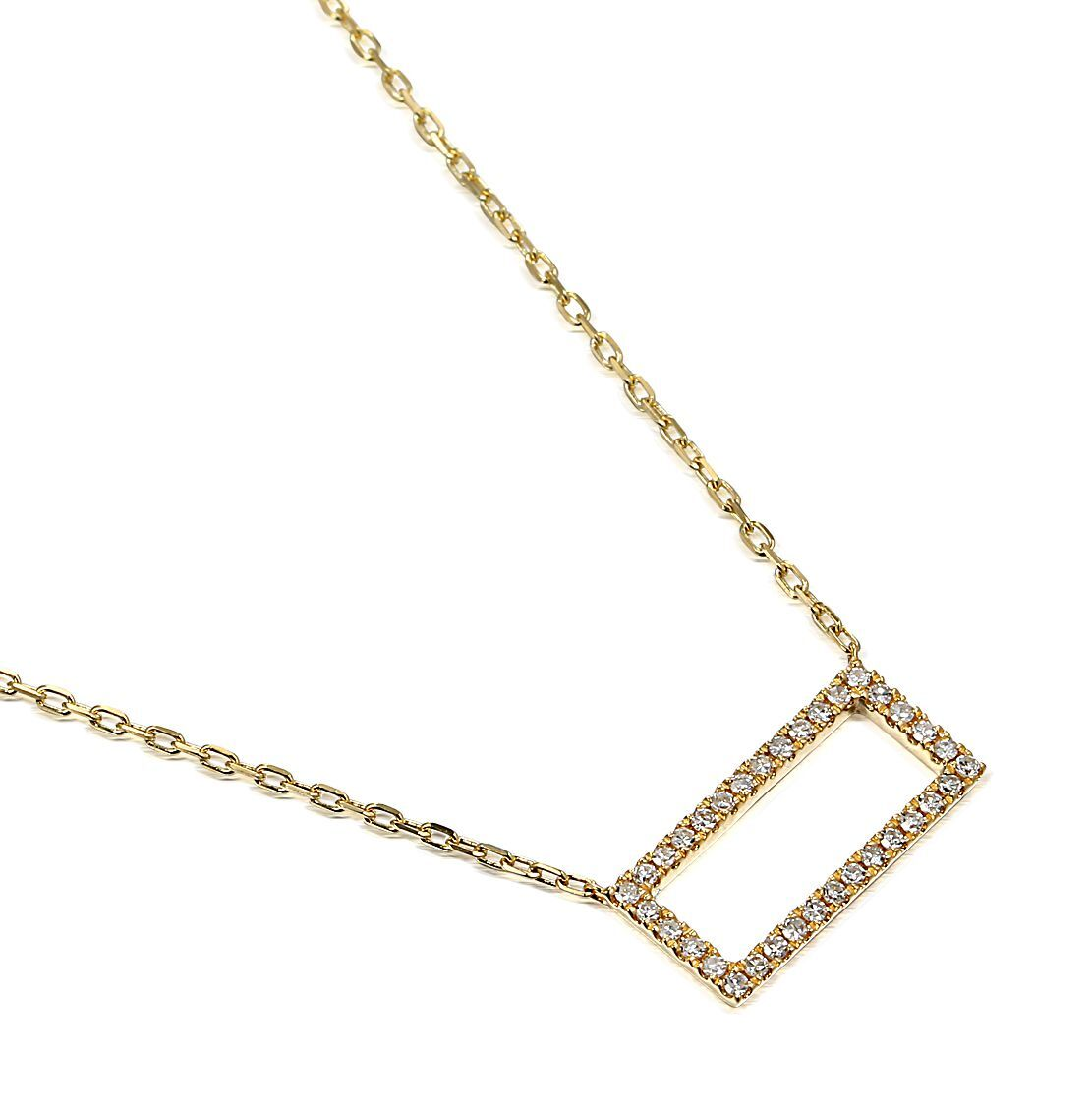 Geometric Collection Diamond & Yellow Gold Rectangle Shape Necklace