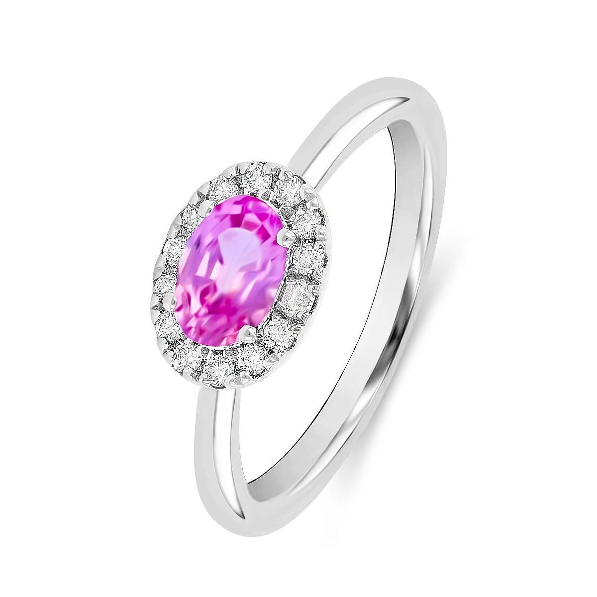 Rosa Mer Collection 0.50ct Pink Sapphire Halo Ring