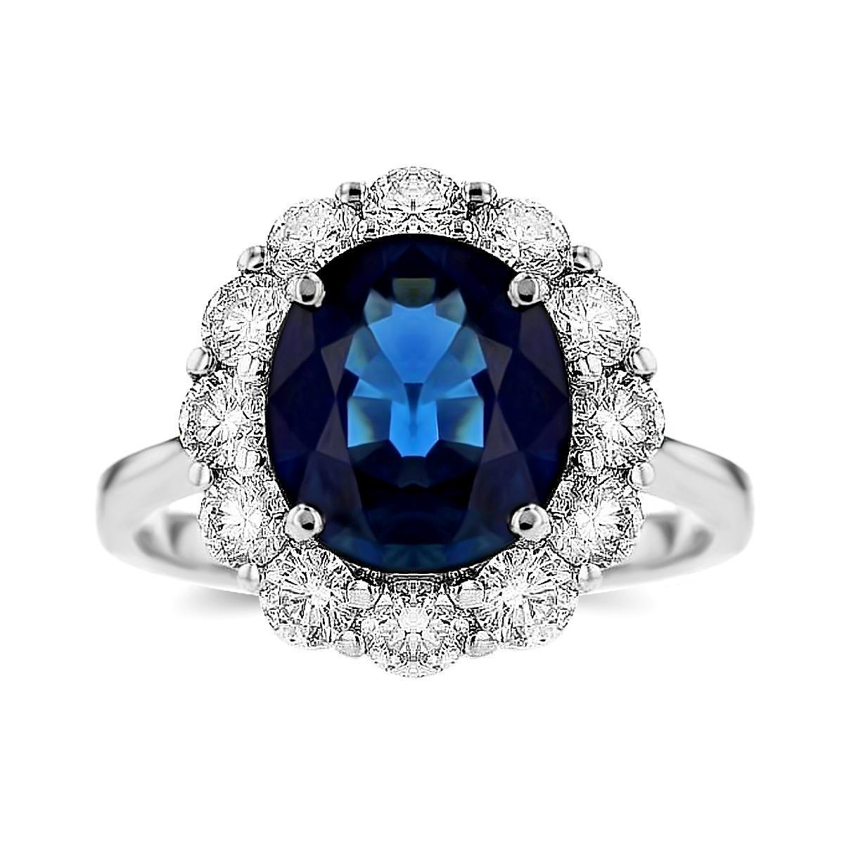 2.63ct Oval Sapphire & Diamond Cluster Ring | 18K White Gold