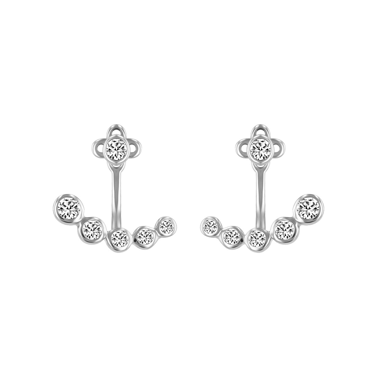 Radiance Collection Diamond Stud Earrings with Diamond Jacket | 9K White Gold