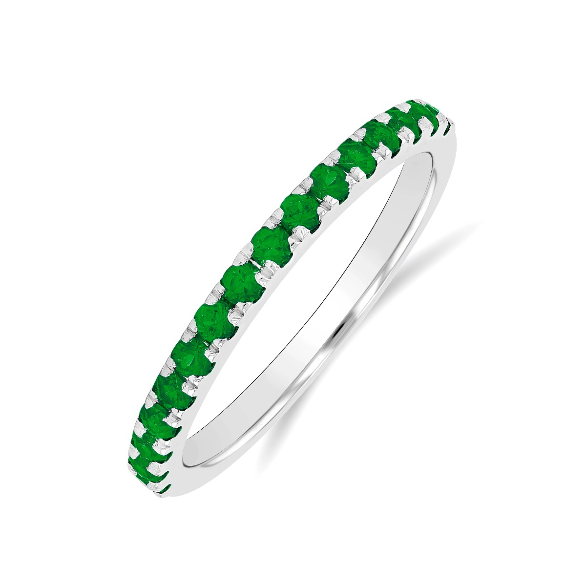 Riviera Collection Emerald & White Gold Stacking Ring