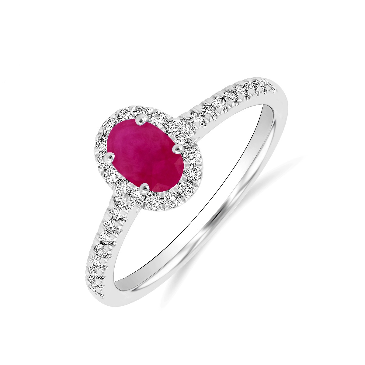 Riviera Collection 0.60ct Oval Ruby & Diamond Halo Ring