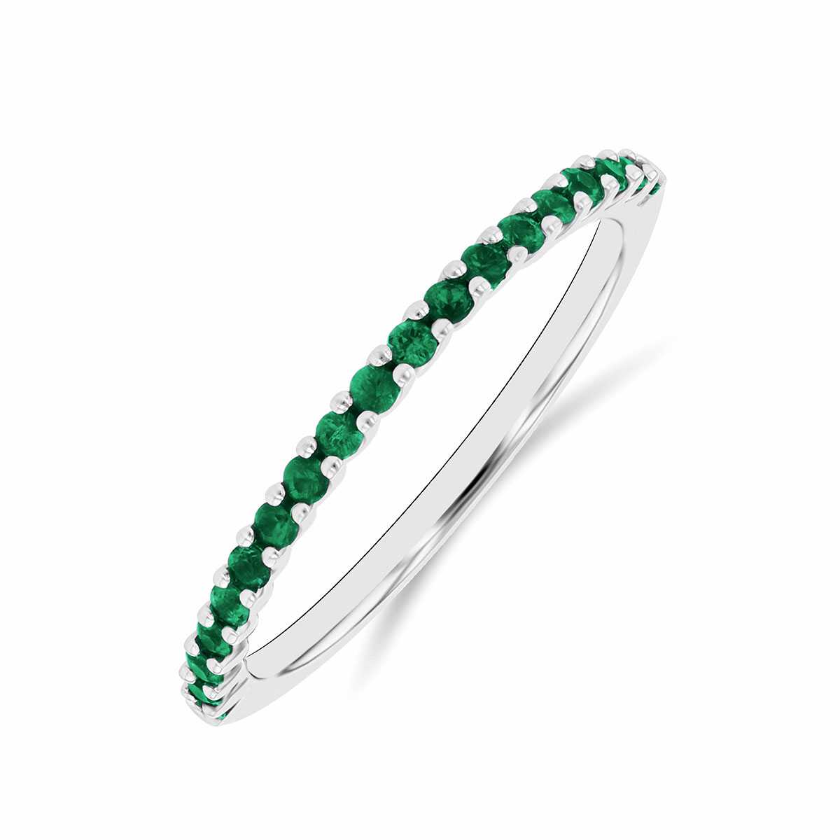 Riviera Collection 0.24ct Emerald Half Eternity Ring | White Gold