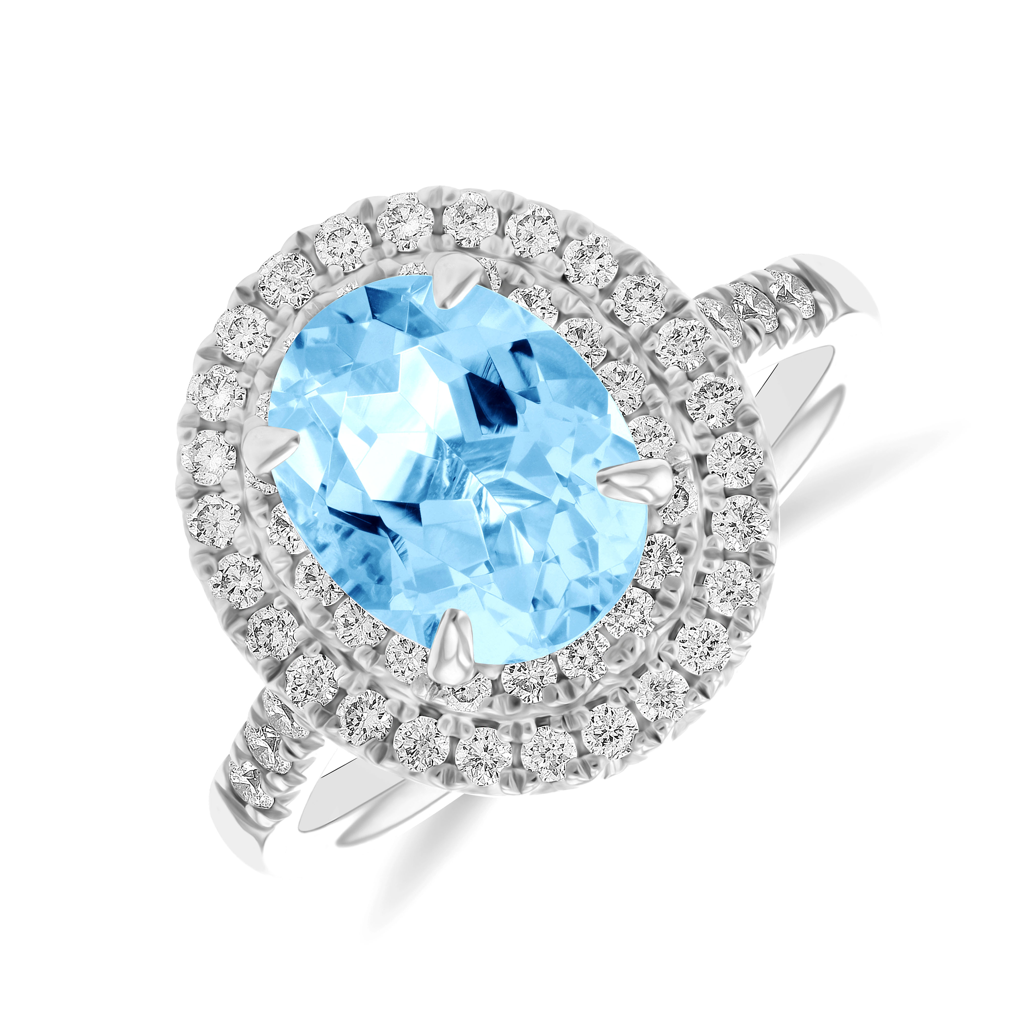 Riviera Collection 2.00ct Oval Aquamarine & Diamond Double Halo Ring   9K White Gold
