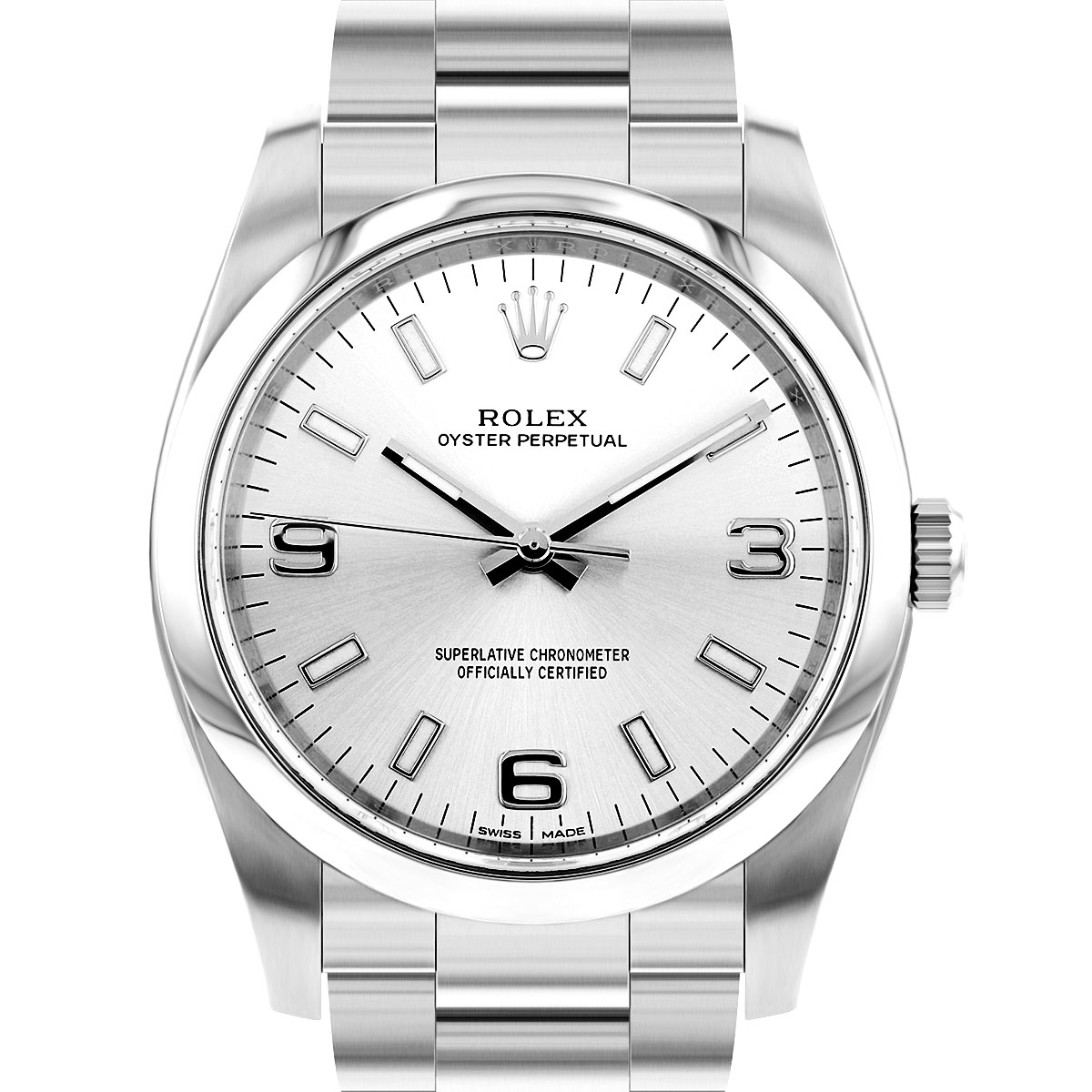 Rolex Oyster Perpetual Non Date Silver Arabic Dial Steel | 114200 - 2019