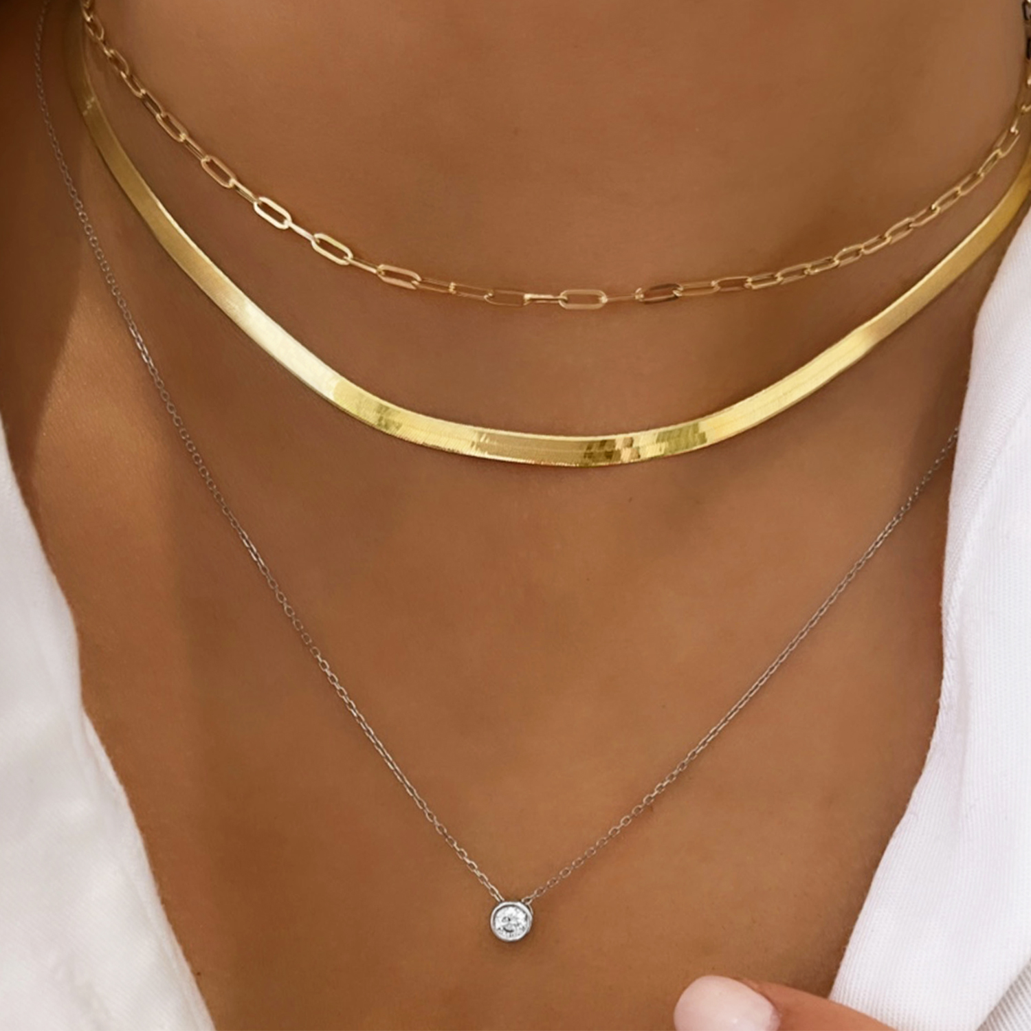 """Soleil Collection 16"""" Herringbone Necklace   9K Yellow Gold"""