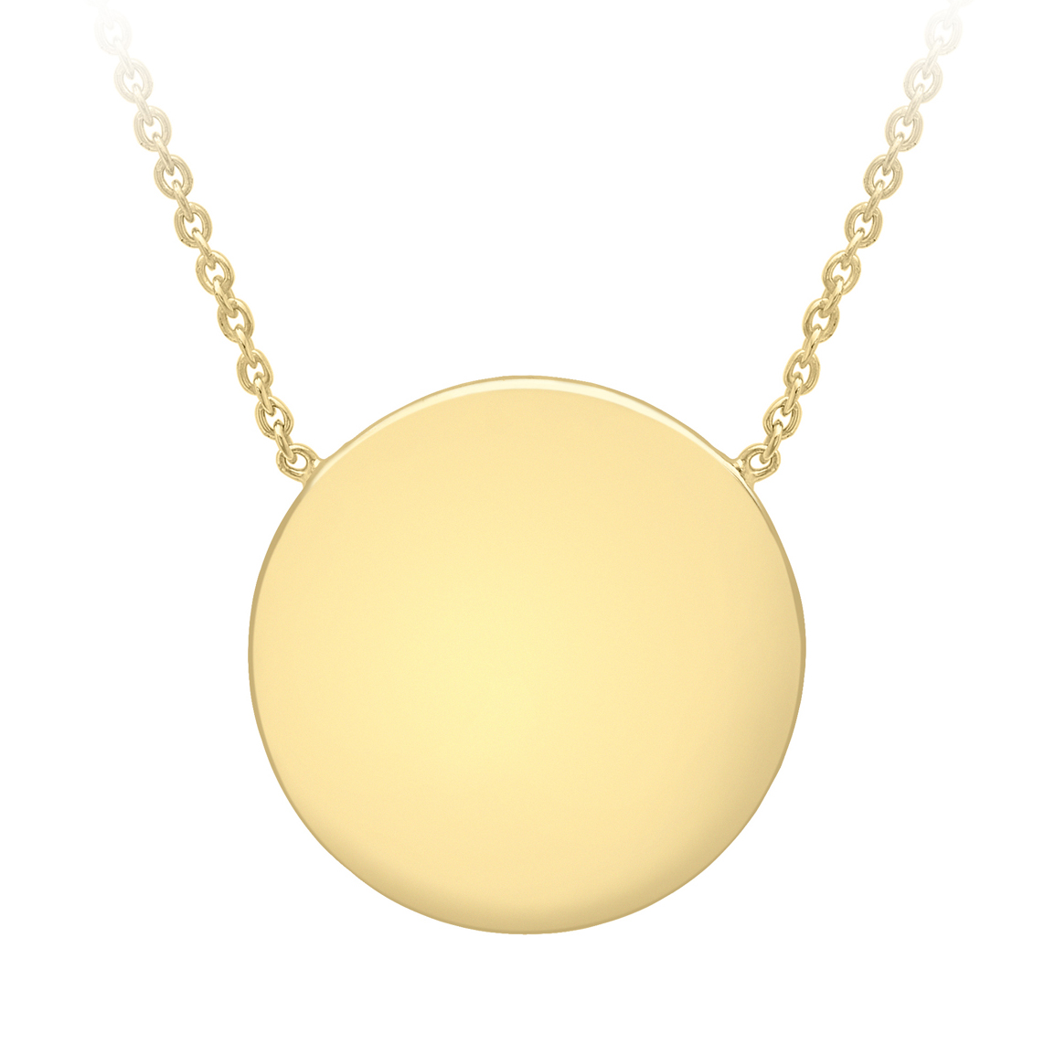 Soleil Collection Disc Necklace   9K Yellow Gold