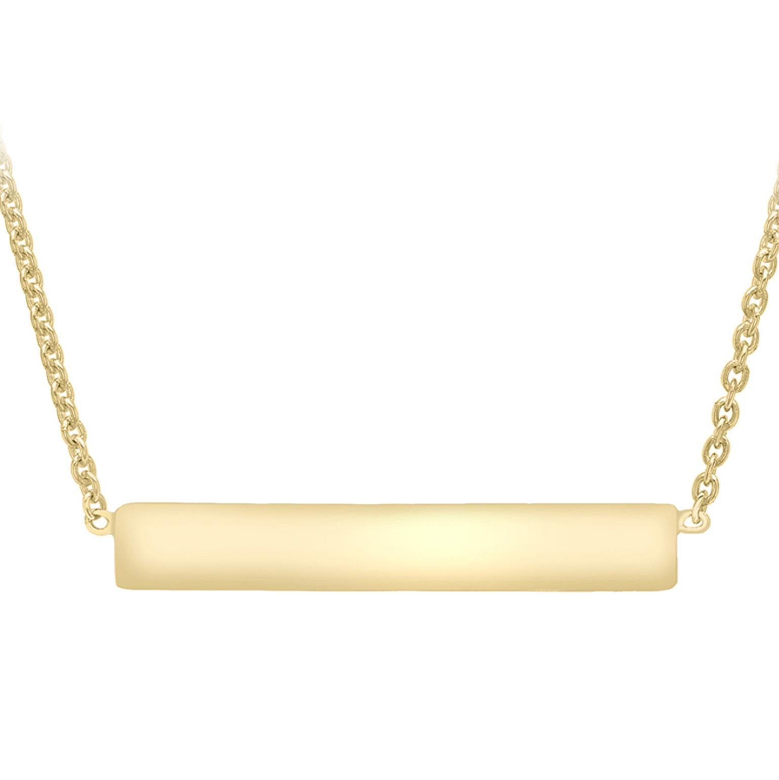 Soleil Collection Gold Bar Necklace   9K Yellow Gold