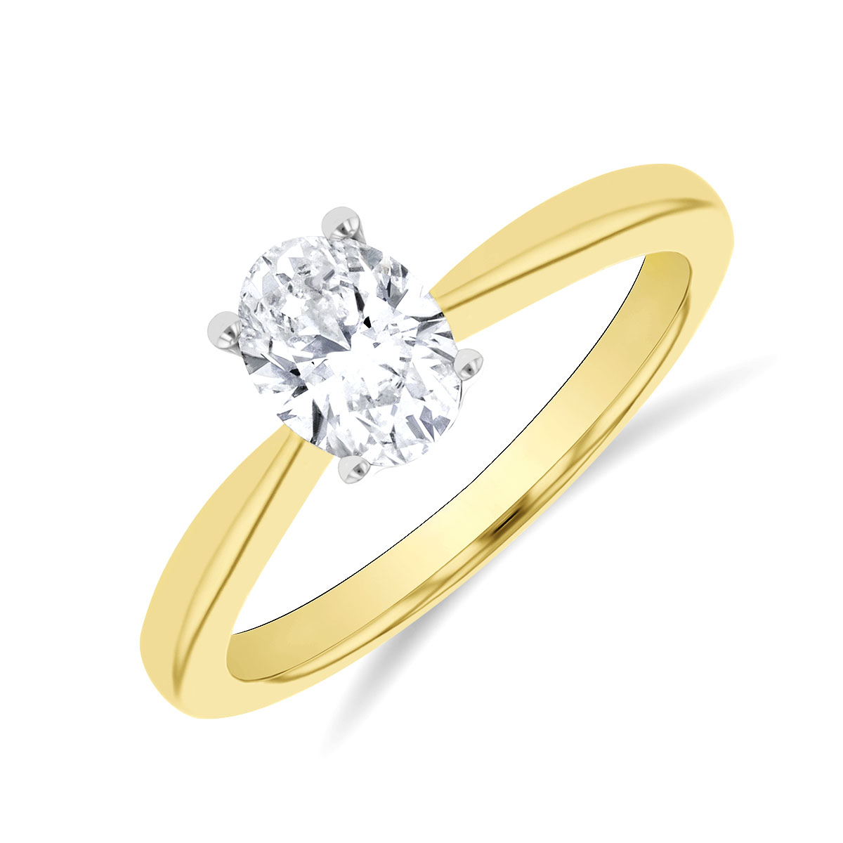0.71ct Vanessa Oval Cut Diamond Solitaire with Hidden Diamond Floral Motif Engagement Ring | 18K Yellow Gold