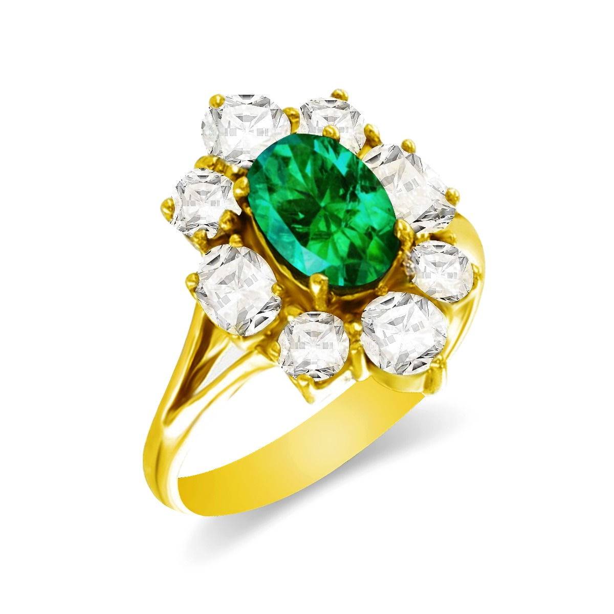 0.80ct Oval Cut Emerald & 1.40ct Diamond Cluster Ring   18K Yellow Gold