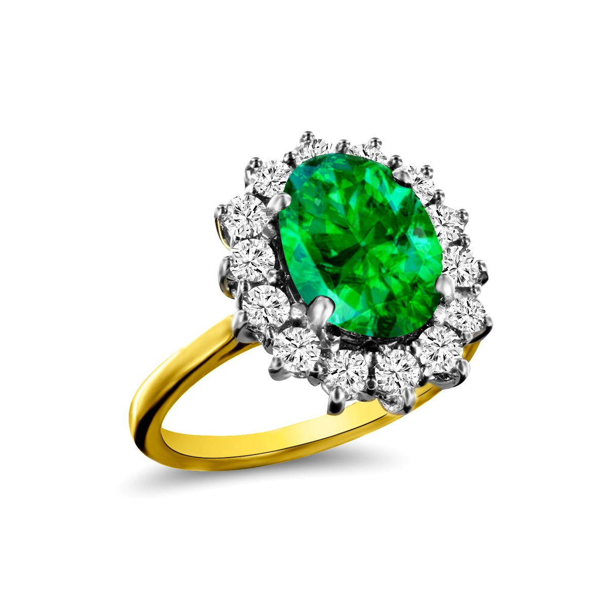 2.19ct Oval Cut Emerald & Diamond Cluster Ring   18K Yellow Gold