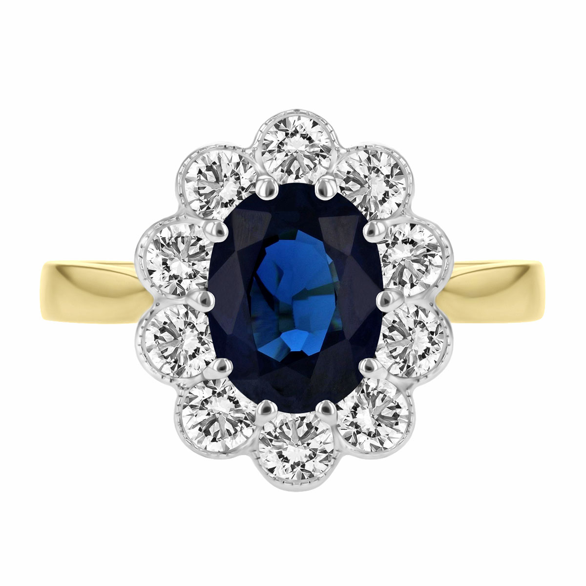 1.92ct Oval Cut Sapphire and Diamond Cluster Ring |  18K Yellow Gold