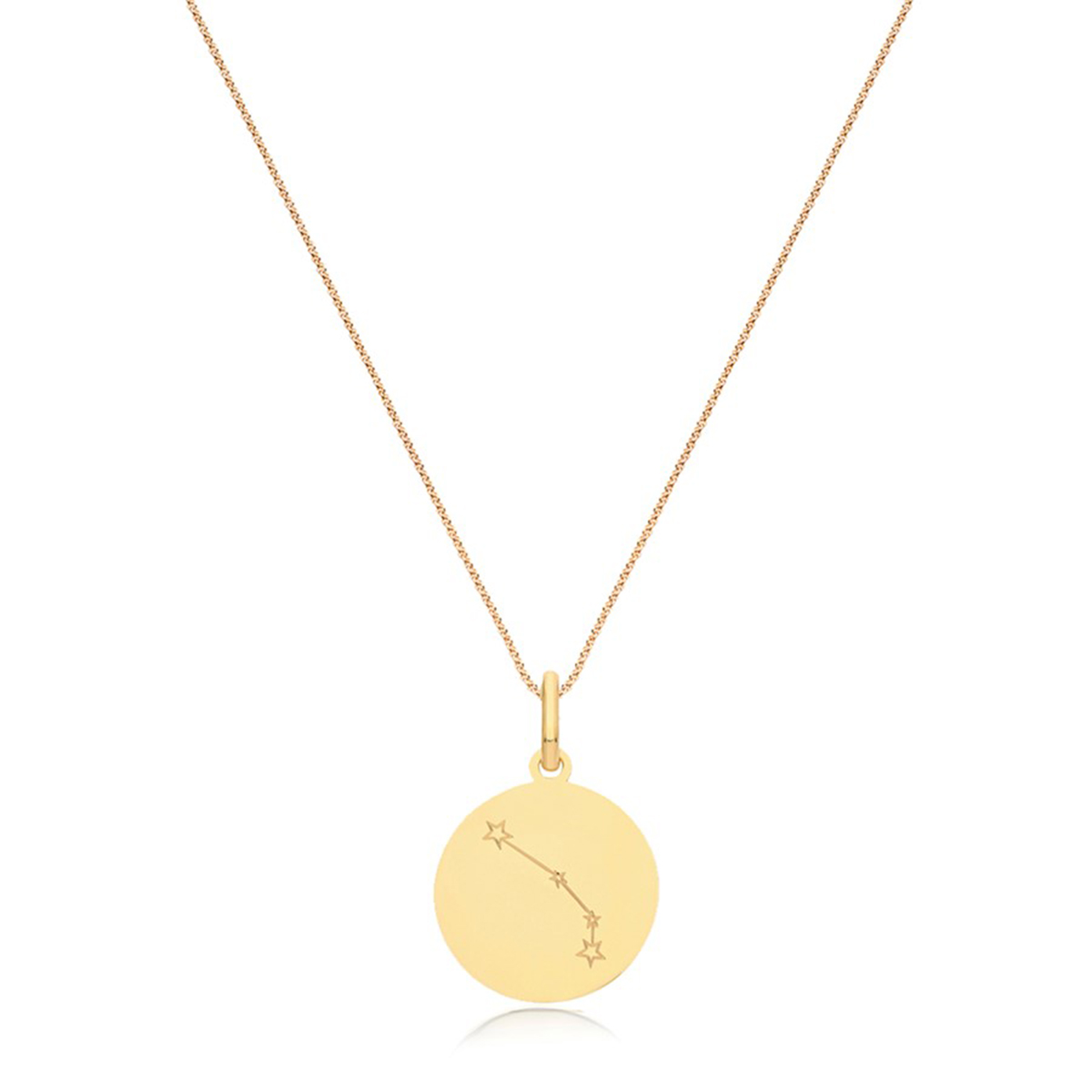 Soleil Collection Star Sign Disc Pendant   9K Yellow Gold