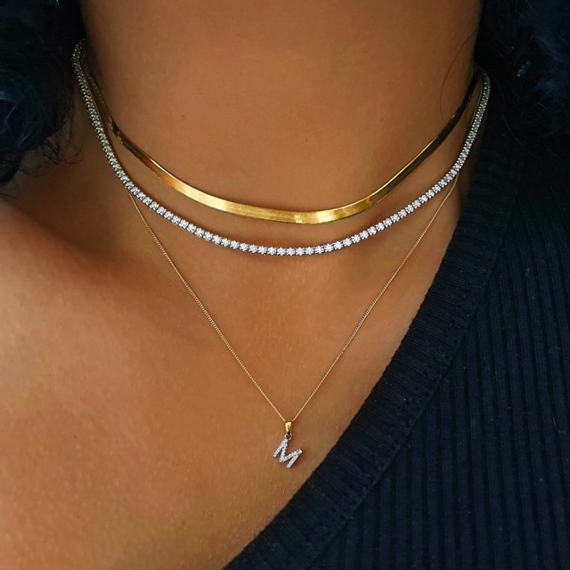 Soleil collection Diamond Letter Necklace   9K Yellow Gold