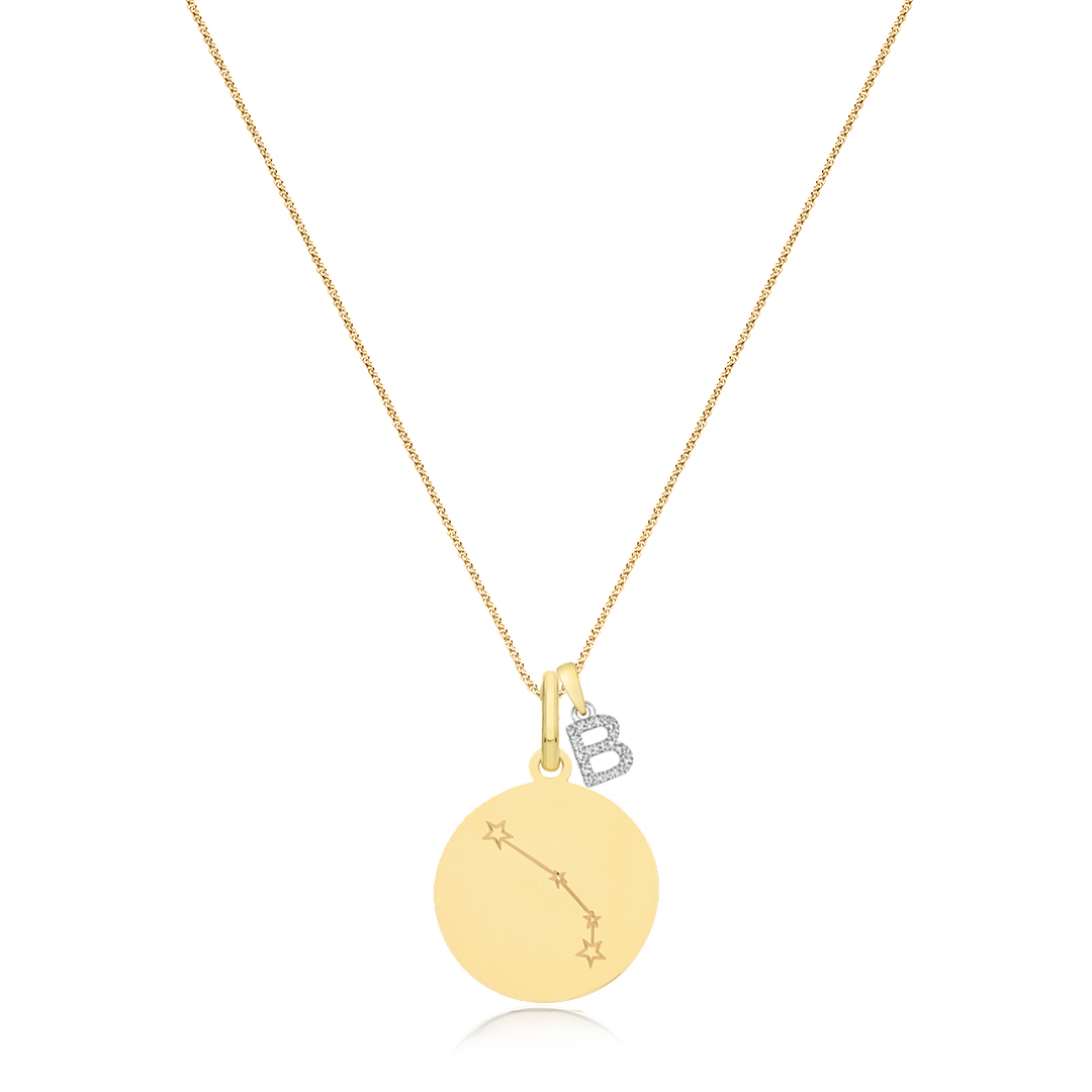 Soleil Collection Diamond Letter and Star Sign Pendant   9K Yellow Gold