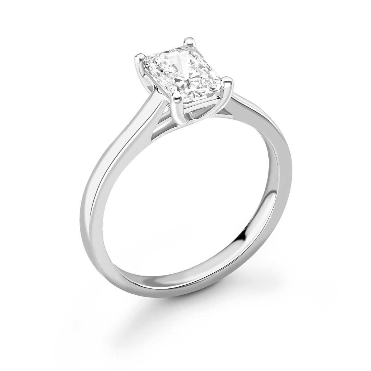 0.50ct Daisy Solitaire   Diamond Emerald Solitaire Engagement Ring   18K White Gold