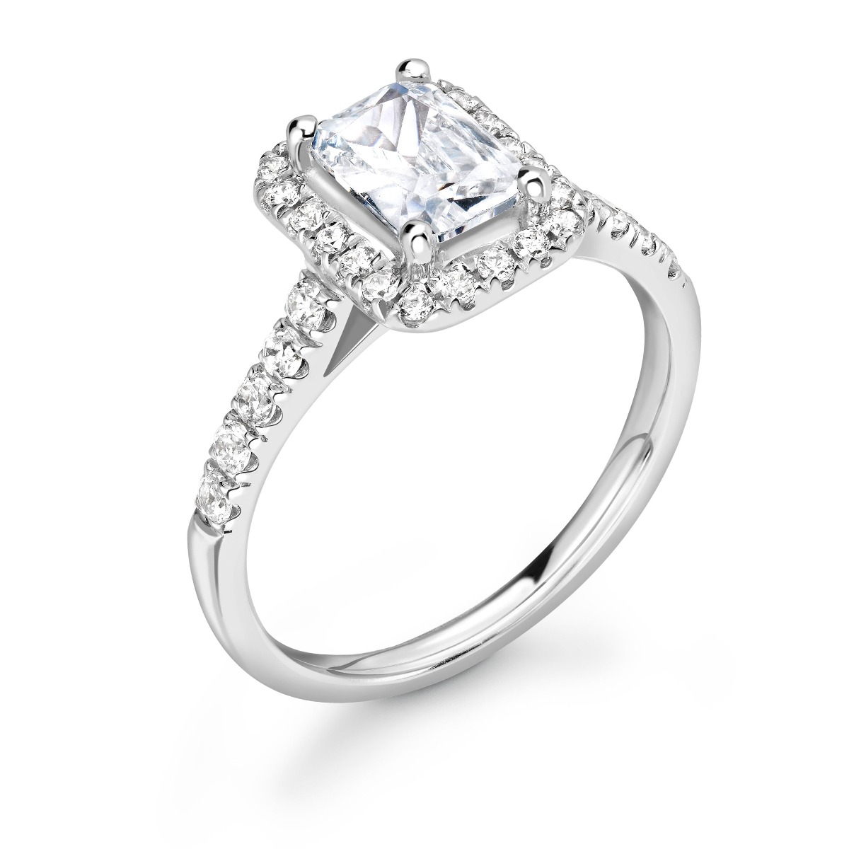1.01ct Willow Halo   Diamond Emerald Cut Halo Engagement Ring   18K White Gold