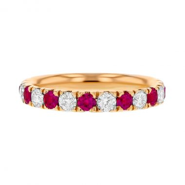 Browns Gemstones Collection 18ct Rose Gold Ruby & Diamond Half Eternity Ring