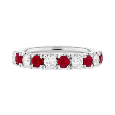 Browns Gemstones Collection 0.50ct   Diamond & Ruby Half Eternity   18ct White Gold