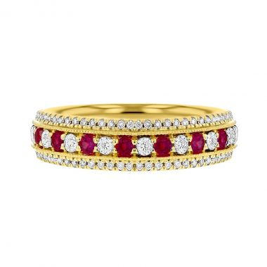 Browns Gemstones Collection 0.56tct   Diamond & Ruby Half Eternity   18ct Yellow Gold