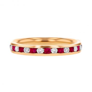 Browns Gemstones Collection 0.50ct   Diamond & Ruby Half Eternity   18ct Rose Gold