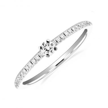 New York Collection Round Brilliant Diamond Stacking Ring | 9K White Gold
