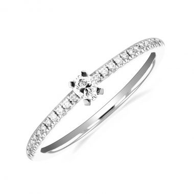 New York Collection Oval Brilliant Diamond Stacking Ring | 9K White Gold