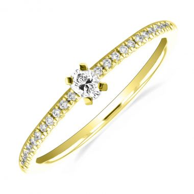 New York Collection Oval Brilliant Diamond Stacking  Ring | 9K Yellow Gold