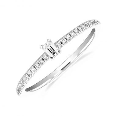 New York Collection Emerald Cut Diamond Stacking Ring | 9K White Gold