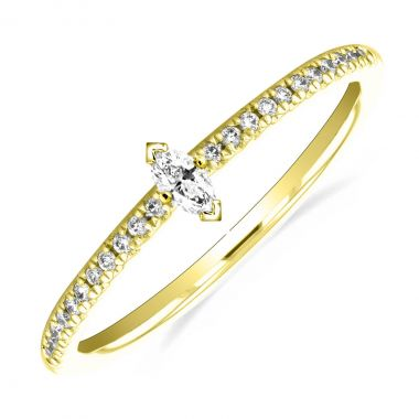 New York Collection Marquise Shaped Diamond Stacking  Ring | 9K Yellow Gold