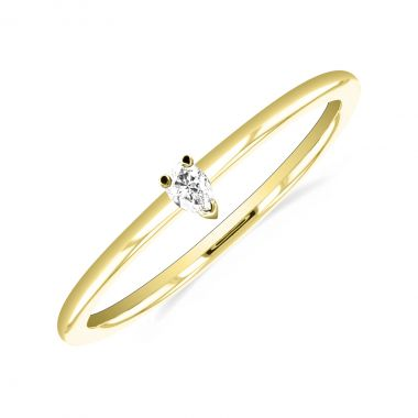 New York Collection Pear Shape Diamond Plain Stacking Ring | 9K Yellow Gold