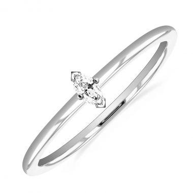 New York Collection Marquise Cut Diamond Plain Stacking Ring | 9K White Gold