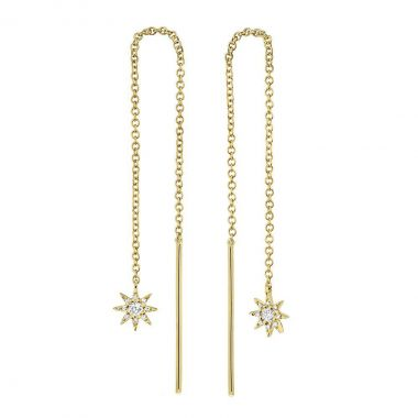 New York Collection Diamond Northern Star Drop Earrings   14K Yellow Gold