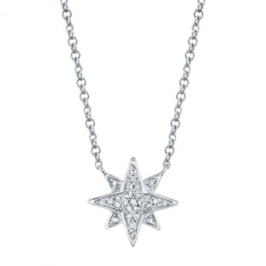 New York Collection Diamond Northern Star Necklace | 14K White Gold