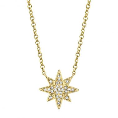 New York Collection Diamond Northern Star Necklace | 14K Yellow Gold