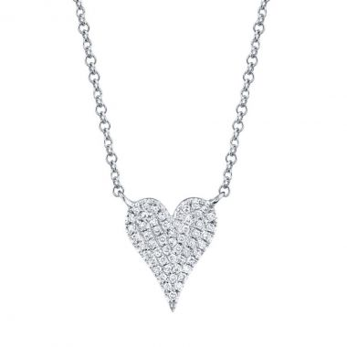 New York Collection Pave Diamond Heart Necklace   14K White Gold